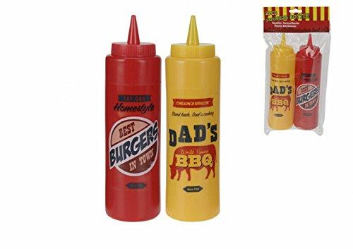Dispensador de Salsa para kétchup y Mostaza con Sistema de apriete fácil, Botella de condimento, 375 ML (2 Unidades)