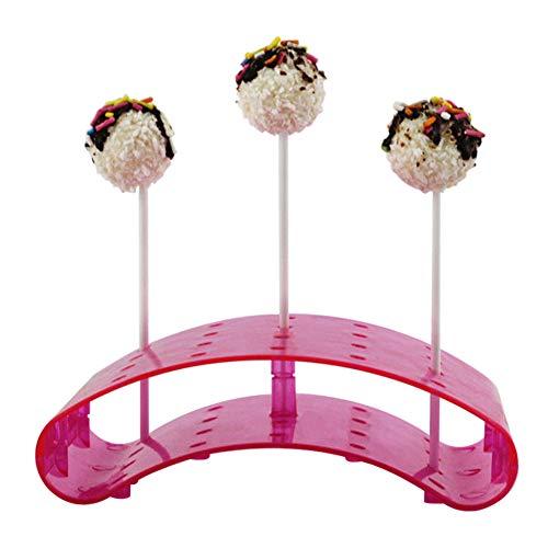 Alicer Cake Pop-Butler,Pop-Ständer Lutscherhalter,Für bis zu 20 Cake Pops, 14x10.5x3cm, Acryl,Transparent Küchen-Kuchen-Ausstellungsstand (Pink) Cake Butler