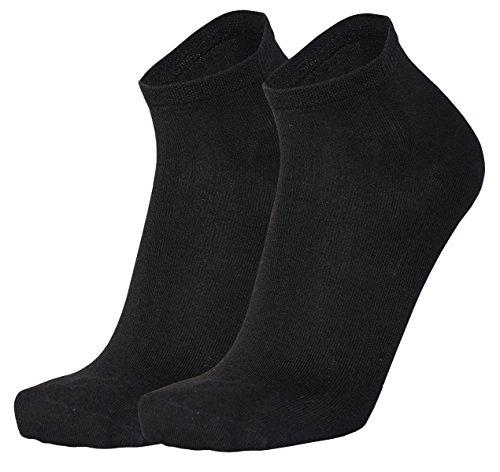 Tobeni 6 Paar Bambus Kurzsocken Quarter Socks für Damen und Herren Farbe Schwarz Grösse 43-46