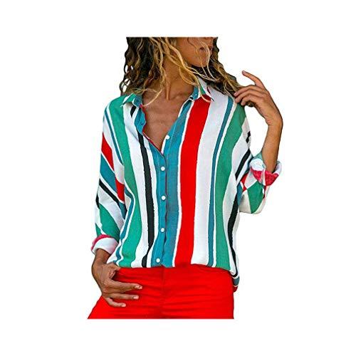 Chiffon Blouse Women Long Sleeve Striped Turn Down Collar Office Shirt Casual Tops -