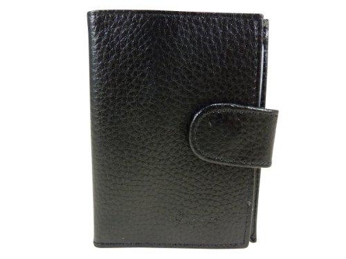 Kreditkartenhalter auch geeignet für Visitenkarten mit Taschen laminiert 24CB Leder Schwarz - Schwarz
