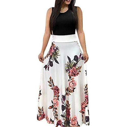kleider Damen Sommer Kurzarm Rundhals Drucken Kleider Sommerkleid Maxikleid Casual Lang Streetwear Cocktailkleid Abendkleid ()