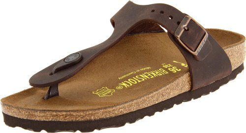 Birkenstock Womens Gizeh Habana Leather Sandals 40 EU Ankle Wrap Strappy