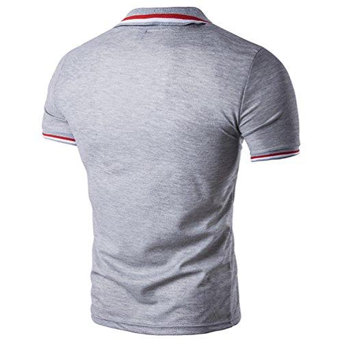 CHENGYANG Herren Streifen Stitching Revers Kurzarm T-Shirt Bluse Mode Poloshirt Licht Grau