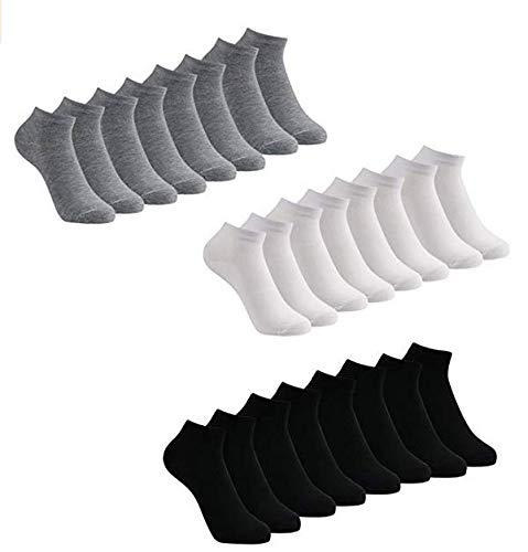Caudblor 12 Pares Show calcetines de corte bajo de algodón para hombres y mujeres, blanco/gris/negro
