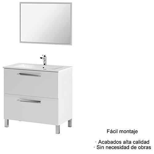 Mueble de Baño con espejo y lavabo incluido CERAMICA (2 cajones + espejo)
