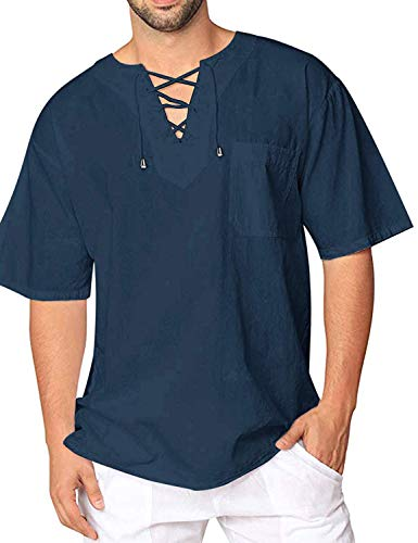Burlady T-Shirt Baumwolle Yoga Shirt Hippie Fisherman Sommerhemd Top Leinenhemd luftig schnelltrockend (70-blau, S) -