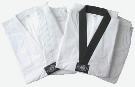 Taekwondoanzug Competition mit schwarzem Revers, 170 cm