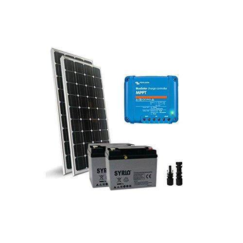 Solar-Kit Pro2 300W 24V Solarmodul Mono Panel Laderegler 15A MPPT Batterie 80Ah