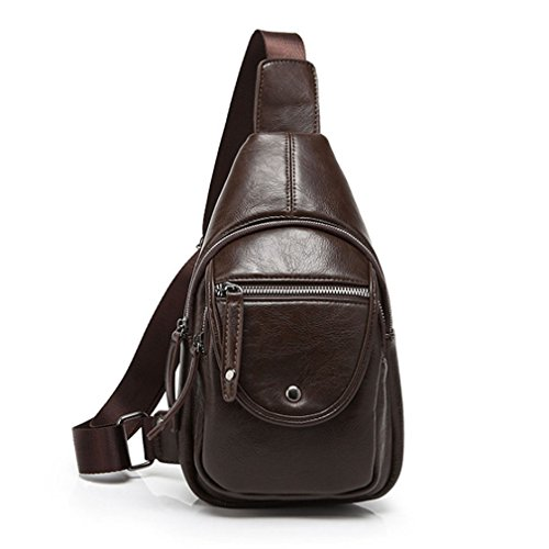 Xieben uomini PU Sling Pack petto borsa da viaggio a tracolla messenger bag Coffee