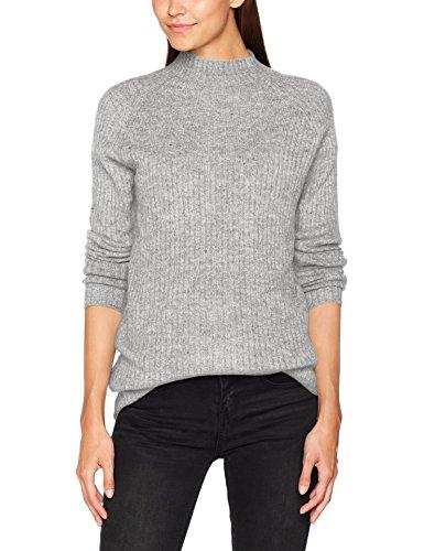 ONLY Damen Onlorleans L/S ST Highneck Pullover KNT, Grau (Light Grey Melange), 42 (Herstellergröße: XL)