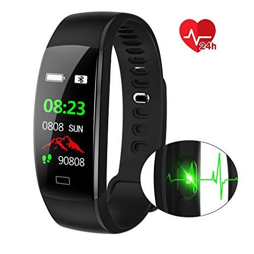 Pulsera Actividad Deportiva,IP68 Impermeable Fitness Tracker con Monitor de Ritmo Cardíaco, Sueño, Fotografía Remota, Notificación de Llamadas / SMS, Control de Música Smart Pulsera