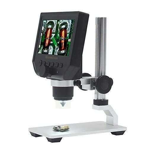 Puao, schermo LCD 10,9cm microscopio digitale 1–600x Zoom lente di saldatura con 8LED luce regolabile e batteria al litio ricaricabile per il cellulare PC Circuit Board SMD repair-metal supporto