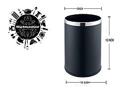 King International Stainless Steel Black Coloured Plain Open Dustbin, Open Garbage Bin 11 litre (10
