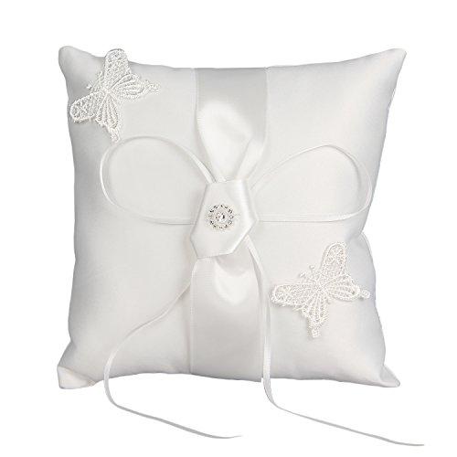 Valdler Elegant Scattered Seed Pearl Ring Bearer Pillow for Wedding Party Prom (White)