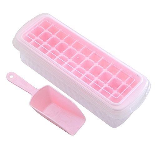 Eiswürfelform,Xfay Neues Design Deckel Eiswürfelbox mit Deckel aus Kunststoff,robuster Eiswürfelbehälter für früchte eiswürfel eismaschine 33 Würfelfächer-1