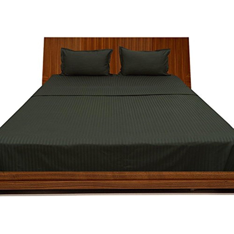 laxlinens 350 fils en coton égyptien 4 pièces pour pour pour lit (+ 53,3 cm) poche profonde suppléHommes taire, double, petit double, noir à rayures 685214