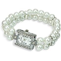 Elegant White Faux Pearl Rhinestone Crystal Stretch Square Dial Wrist Watch Bracelet Quartz Bangle Watch