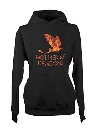 Mother Of Dragons Fire Damen Hoodie Sweatshirt Schwarz X-Large