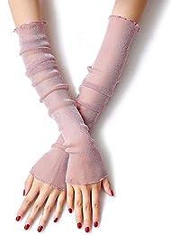 fingerlos AchidistviQ Damen Armstulpen mit UV-Schutz Baumwolle Rose lang