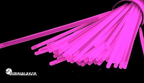 OmniaLaser Lot de 100bracelets lumineux Glow Stick avec connecteurs Rose