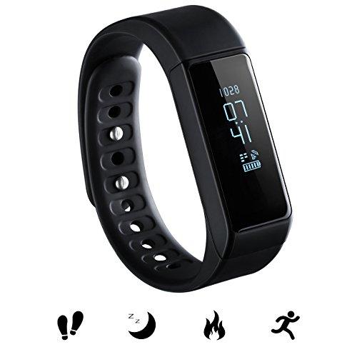 Bluetooth Fitness Tracker, Omorc Sport Armband I5 Plus SmartWatch OLED Uhr Aktivitätstracker smart bracelet mit Schlafmonitor, Schrittzähler, Kalorienzähler, SMS Anrufe Reminder für iPhone iOS und Android Smartphones - Schwarz