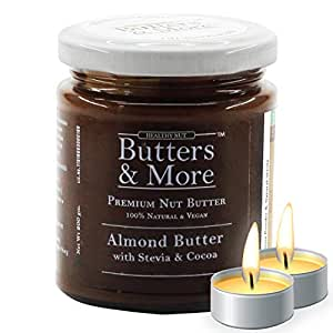 Butters & More Vegan Almond Butter with Dark Cocoa & Stevia (200G). Keto & Diabetic Friendly. with a Surprise Diwali Gift!