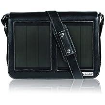 SunnyBAG Business Executive+ Solartasche mit 3,6 Watt Solarpanel für 13 Zoll Notebook, Businesstasche, Umhängetasche, Aktentasche, Notebook-Tasche, Laptop-Tasche, aus Leder, schwarz