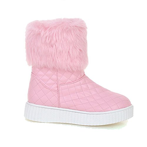 AllhqFashion Damen Niedrig-Spitze Rein Ziehen Auf Rund Zehe Niedriger Absatz Stiefel Pink