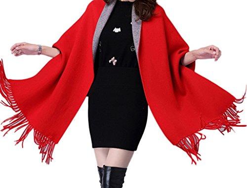Smile YKK Poncho Femme Châle Cape Cardigan Veste Frange Elégant Rouge