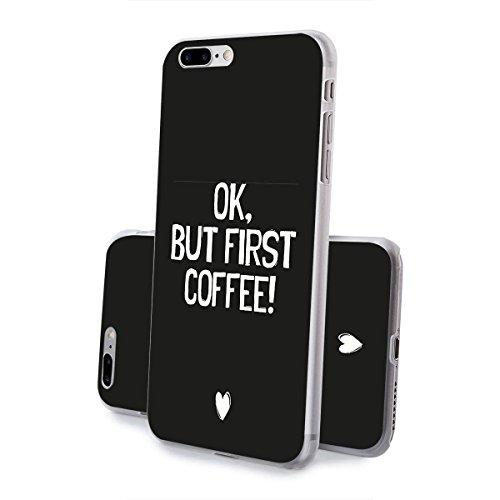 finoo | iPhone 8 Handy-Tasche Schutzhülle | ultra leichte transparente Handyhülle in harter Ausführung | kratzfeste stylische Hard Schale mit Motiv Cover Case | Watercolor heart butterflies First coffee