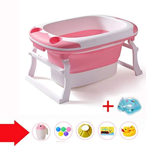 XUEPING Baby-Kunststoff-Badewanne, Kinder-Faltbadewanne, Großer Gürtel Mit Sitzbadewannen,Trapezhalterung Tragbarer Pool Für Schwimmbecken L91 * K60 * H44 2 Farben (Farbe : Pink)