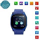 KeepGoo Bluetooth Reloj Inteligente Android iOS Teléfono, Pantalla táctil Smartwatch Soporte SIM/TF Reloj de Pulsera con Cámara Reproductor de música Facebook Sync SMS etc para Hombre Mujer(Azul)