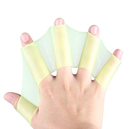 Kingnew Silikon Schwimmen Finger Schwimmhäute Handschuhe Frosch Getriebe Flossen Training Hand Palm Flippers Paddel (grün, L)