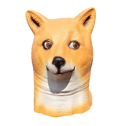 BESTOYARD Shiba Inu Hund Latex Maske Tier Maske Hund Horror Masken für Erwachsene Halloween Cosplay Kostüm