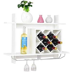 COSTWAY Weinregal mit Weinglashalter, Flaschenregal hängend, Weinständer Holz, Weinschrank Hängeregal, Wandregal…