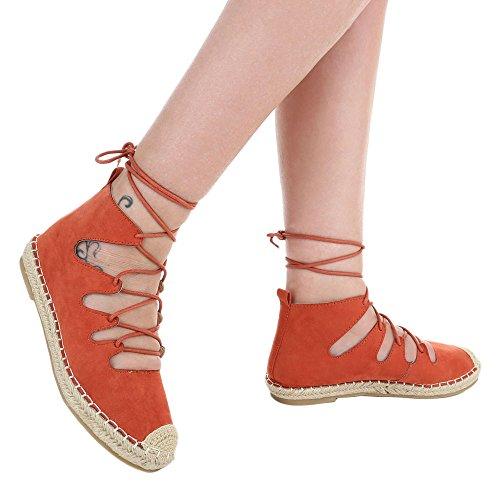 Comfort Pumps Scarpe Da Donna Chiuso Blocco Tallone Tacco Stringhe Ital-design Pompe Arancione