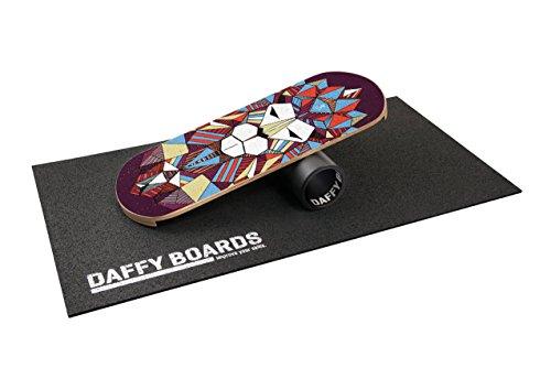 "DAFFY BOARDS improve your skills. DaffyBoards Balance Trainer Set ""Lion"": Balance Board 75cm x 29,5cm aus Birkenholz, stabile 125mm Kunststoffrolle, Bodenschutzmatte"