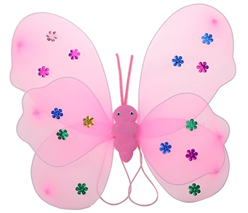 Funny Teddy Fairy Butterfly Wings Costume Barbie For Baby Girl Angel For Birthday Theme Party (Pink) | Includes:Butterfly Wings,Hairband And Magic Wand/Stick .