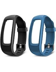 Lintelek Bracelets de rechange, TPE Remplacement Bracelets pour ID107PLUS HR Fitness Tracker d'activité - lot de 2 (Noir, Bleu)