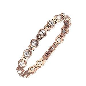 moocare Elegante Rose Gold Magnettherapie Armbänder für Frauen Schmerzlinderung für Arthritis und Karpaltunnelsyndrom mit Kristall Stein