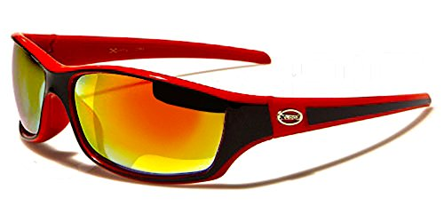 Xloop Sonnenbrillen - Radfahren - Skifahren - Laufen - Driving - Moto - Mode - Fashion - Kite - Pilotenbrille / Mod. 5340 Rot Schwarz Diesel Iridium Spiegel