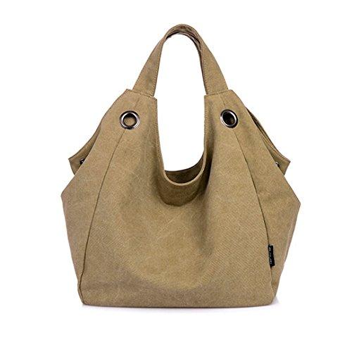 witery Damen Vintage Canvas Tote Bag Handtasche Shopping Bag Schulter Tasche Handtasche, Khaki (Khaki) - CLOA0019-04 (Canvas Louis Handtasche Vuitton)