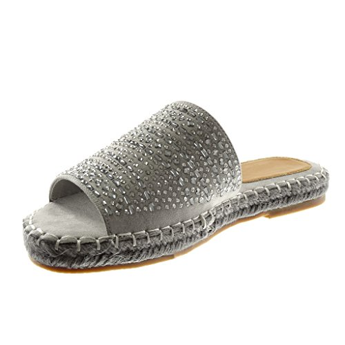 Angkorly Chaussure Mode Sandale Mule Slip-On Femme Strass Corde Finition Surpiqûres Coutures Talon Bloc 2.5 CM Gris