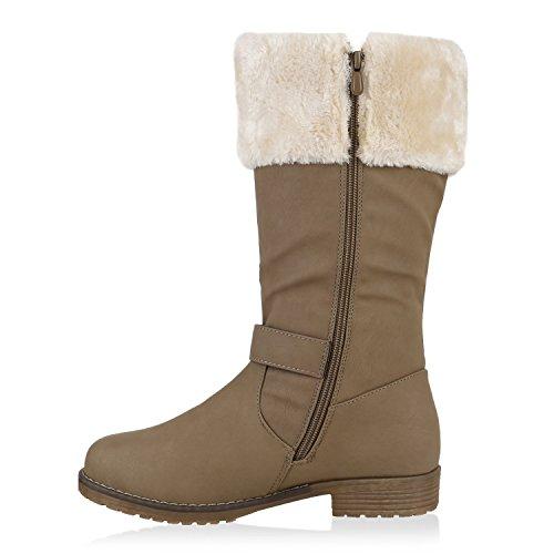 Warm Gefütterte Damen Stiefel Kunstfell Winterstiefel Boots Khaki Creme