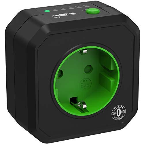ANSMANN Timer Steckdose AES1 - Schaltbare Energiespar-Steckdose mit Countdown Timer für Heizlüfter, Bügeleisen, Kaffeemaschine, Waschmaschine usw. (Zeitintervall per Schalter wählbar) - Schwarz