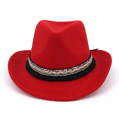 YJIU Fedorahüte 2019 Mode Frauen Männer Fedora Wolle Baumwolle Polyster Western Cowboy Nationalen Stil Hut for Winter Herbst Elegante Dame Dad Caps Trilby Homburg Church Jazz (Color : 6)