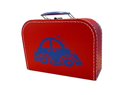 Pappkoffer rot mit Auto 45 cm