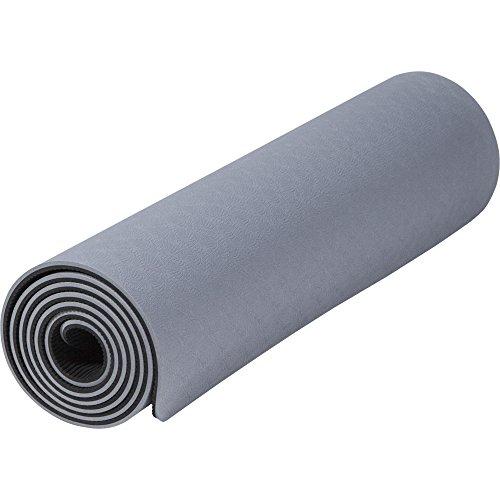 GORILLA SPORTS® Yogamatte 180 x 60 x 0,8 cm TPE Rutschfest - Matte für Fitness, Yoga, Pilates, Gymnastik in Grau