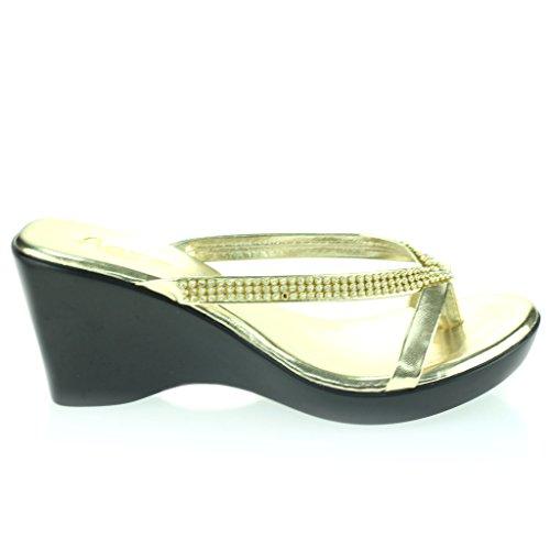 Femmes Dames Diamante Toe Bar enfiler Talon Compensé Quotidien Casual Confort Fête Sandales Chaussures Taille Or